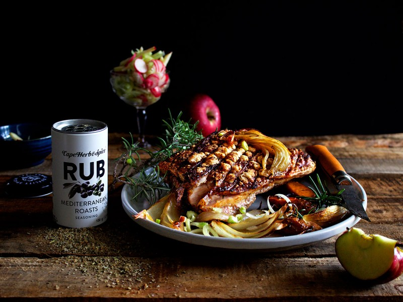 MEDITERRANEAN ROAST PORK BELLY WITH APPLE, FENNEL & RADISH SLAW