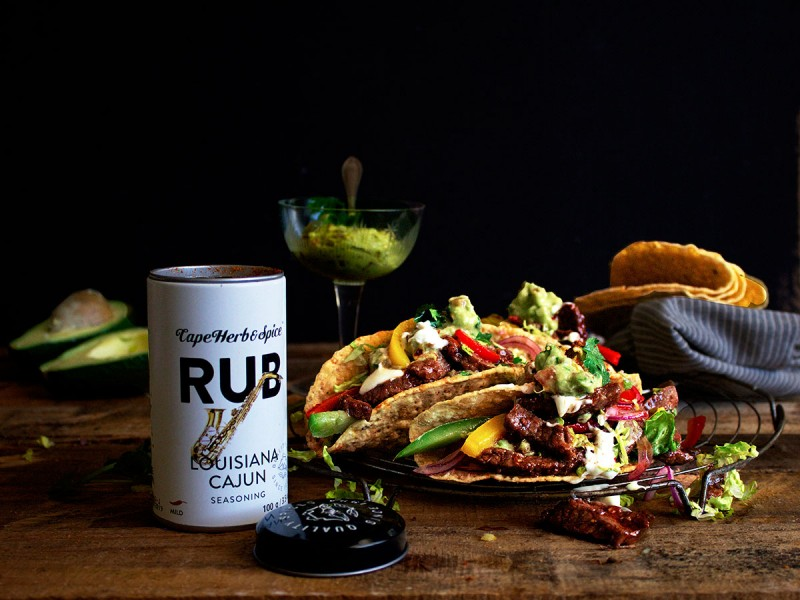 Cajun Steak Tacos with Tri-Colour Peppers & Guacamole