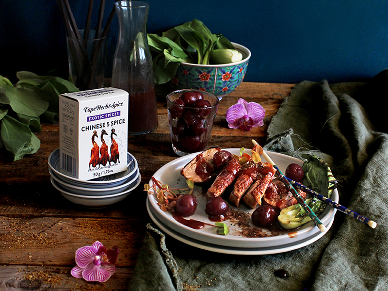 ASIAN INSPIRED DUCK WITH 5-SPICE & ROASTED CHERRY SAUCE