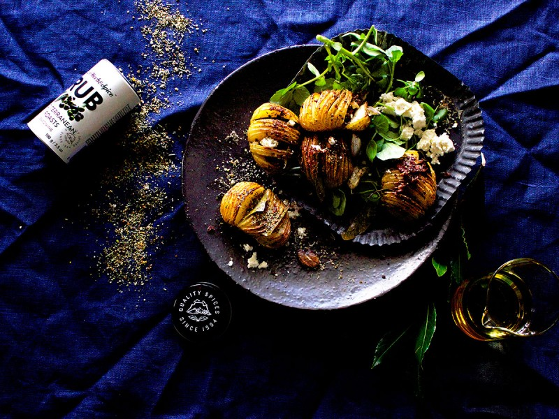 Mediterranean Hasselbacks with Bacon Crumbs