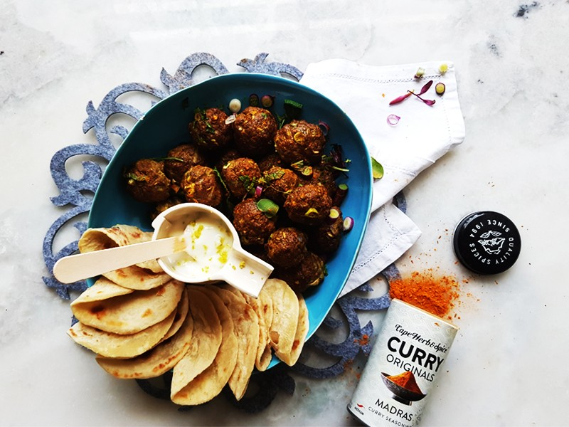 BOMBAY BEEF MADRAS DUMPLINGS WITH LIME YOGHURT