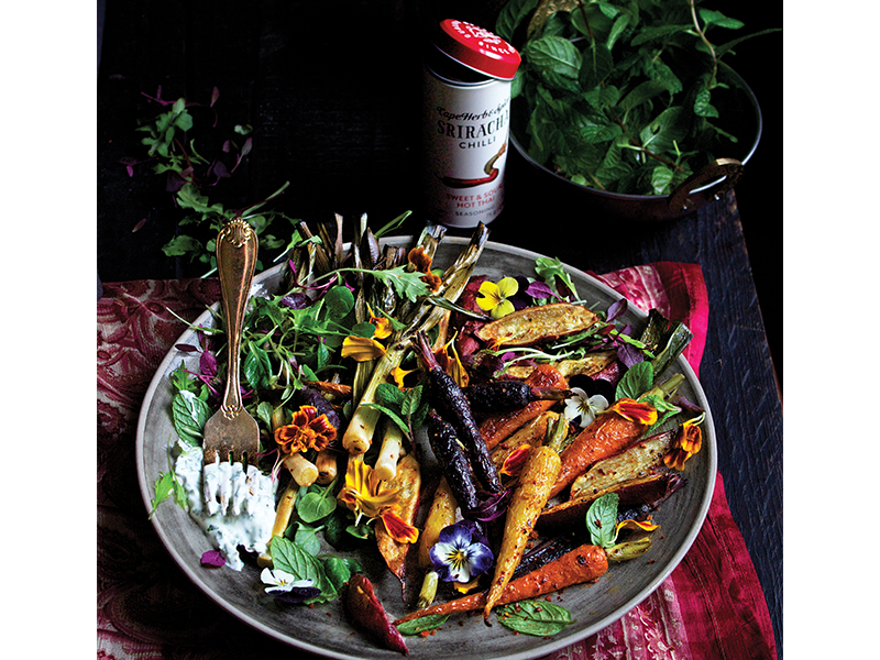 OVEN-ROASTED SRIRACHA ROOT VEG SALAD WITH COOLING YOGHURT DRESSING