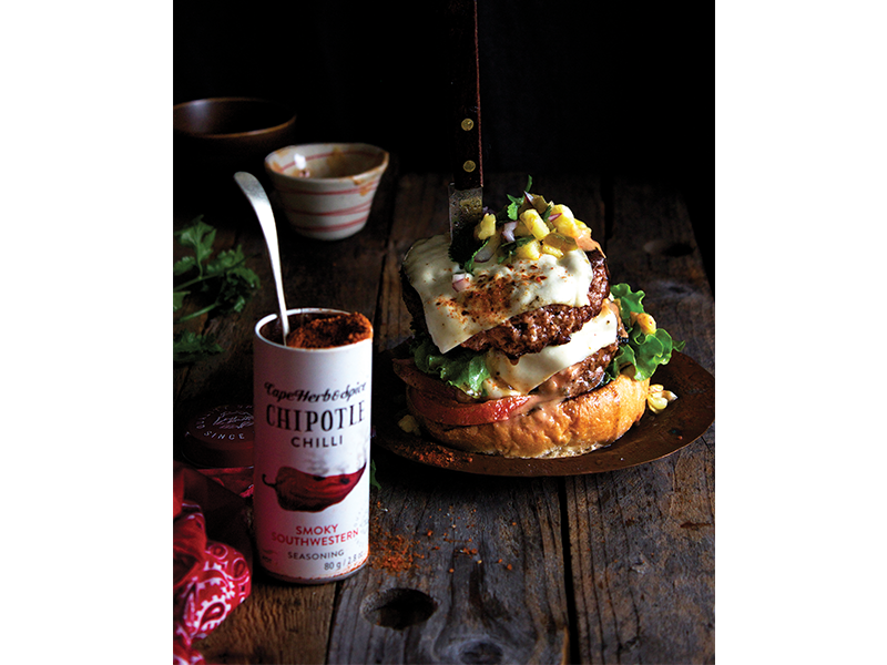 CHIPOTLE COWBOY BURGER WITH PINEAPPLE-JALAPENO SALSA