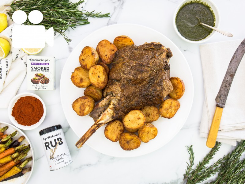 CAJUN ROASTED LEG OF LAMB WITH PAPRIKA POTATOES