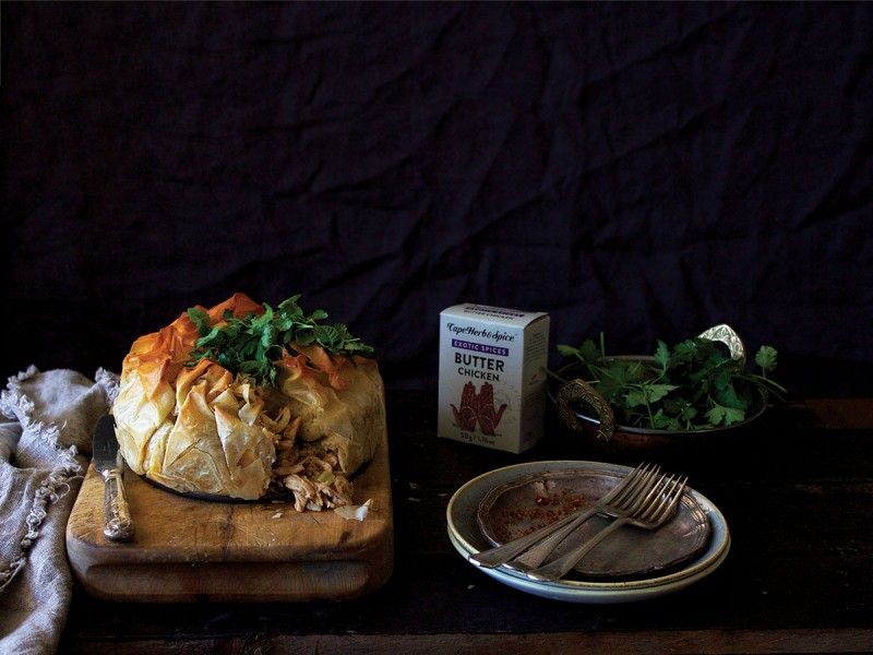 ROAST BUTTER CHICKEN PHYLLO PIE