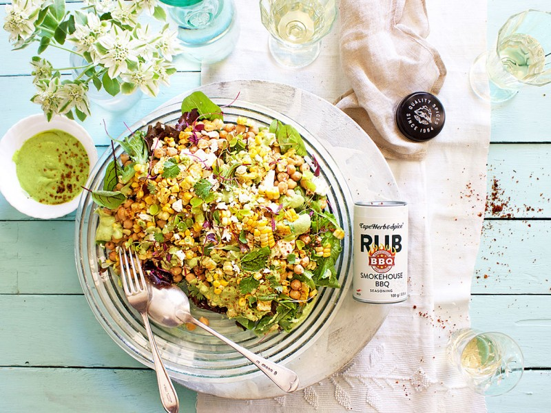 CHICKPEA AND CORN SALAD WITH GREEN TAHINI JALAPENO SAUCE
