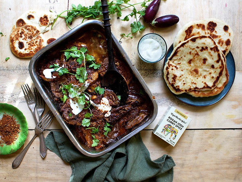 LAMB NECK AND AUBERGINE ROGAN JOSH WITH NAAN