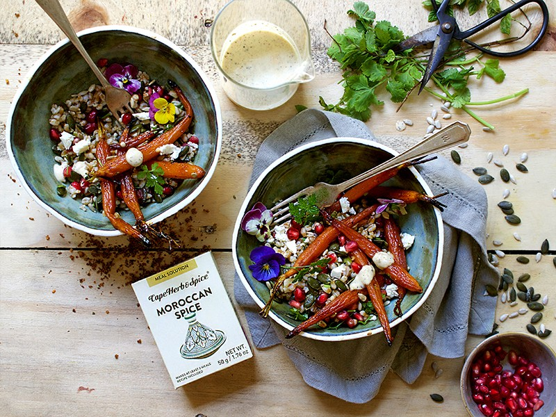 MOROCCAN ROAST CARROT AND PEARL WHEAT SALAD WITH HUMMUS DRESSING