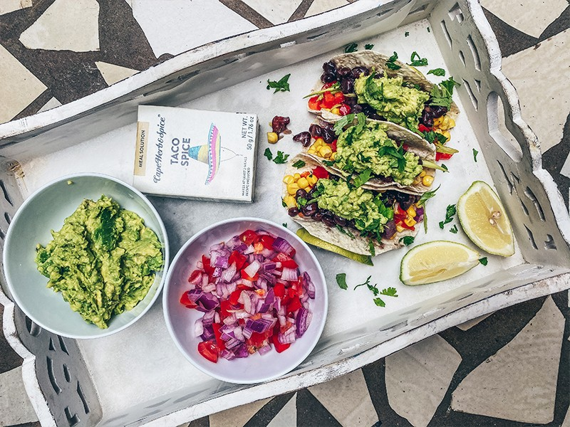 BLACK BEAN & SMASHED AVO TACO'S